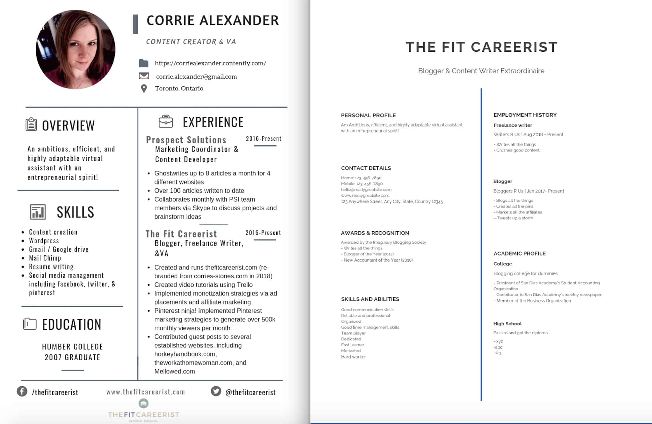 Examples of 2 different resume styles.